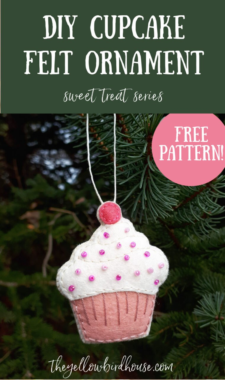 DIY Felt cupcake with seed bead sprinkles. How to make an adorable felt cupcake ornament with free printable pattern. Easy craft tutorial for felt play food.