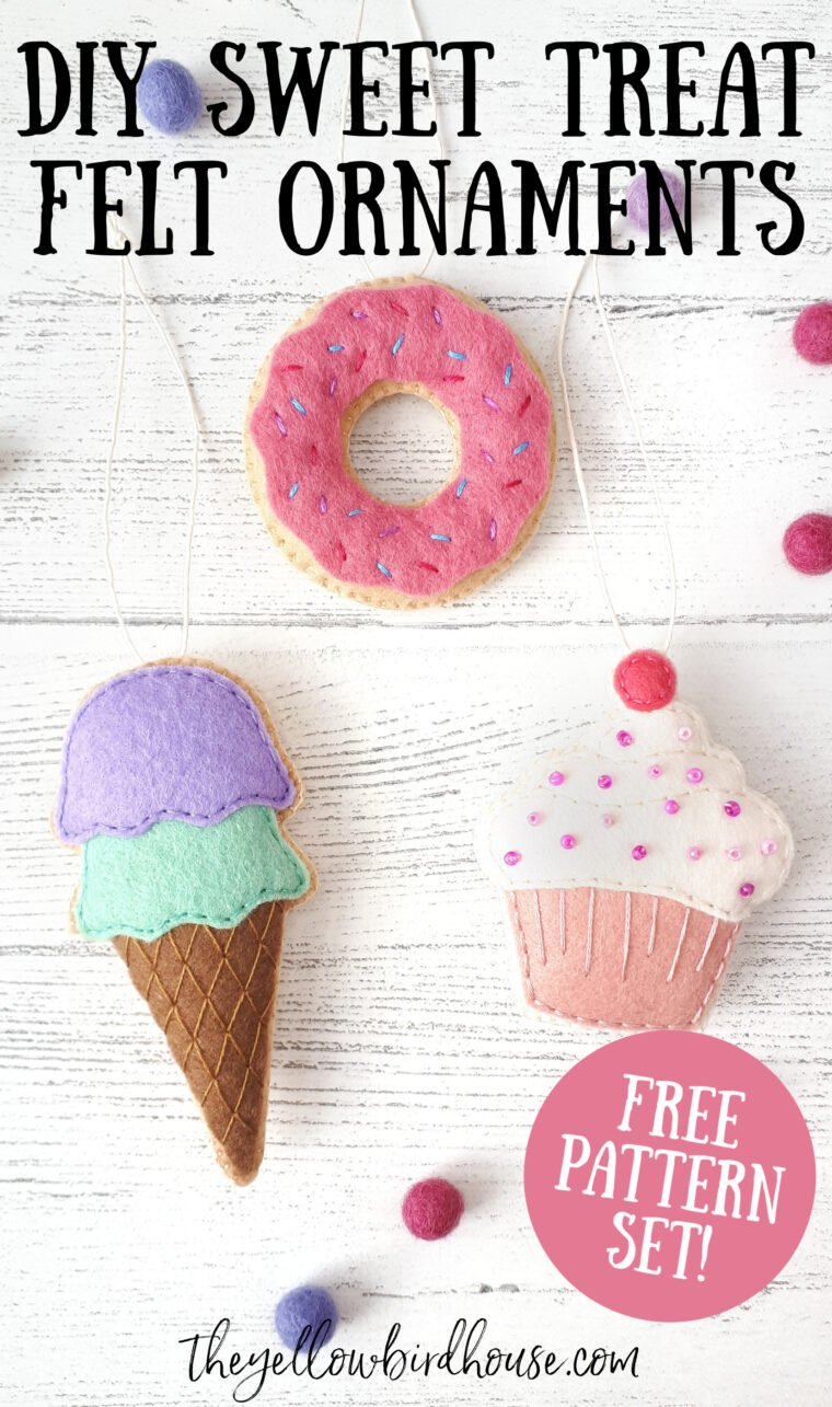 Make a trio of felt sweet treats with this free pattern set. DIY tutorials for a felt donut, cupcake and ice cream cone. Turn these simple sewing projects into ornaments or use them as play food. Easy felt craft tutorials for fun felt ornaments.