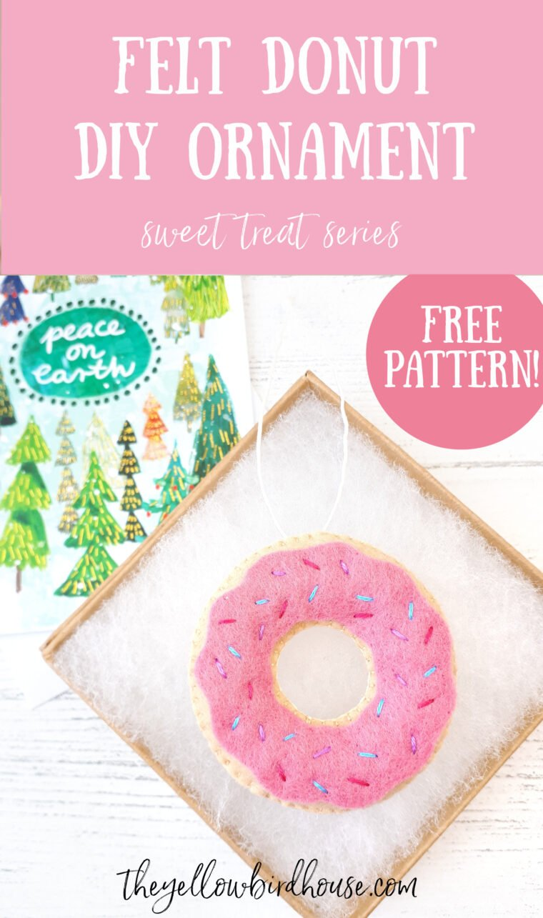 DIY Felt donut with free pattern. Fun embroidered felt donut ornament. Easy diy donut ornament. Felt play food with free pattern download. Make an adorable felt donut to use as an ornament, play food or strung together as a garland!