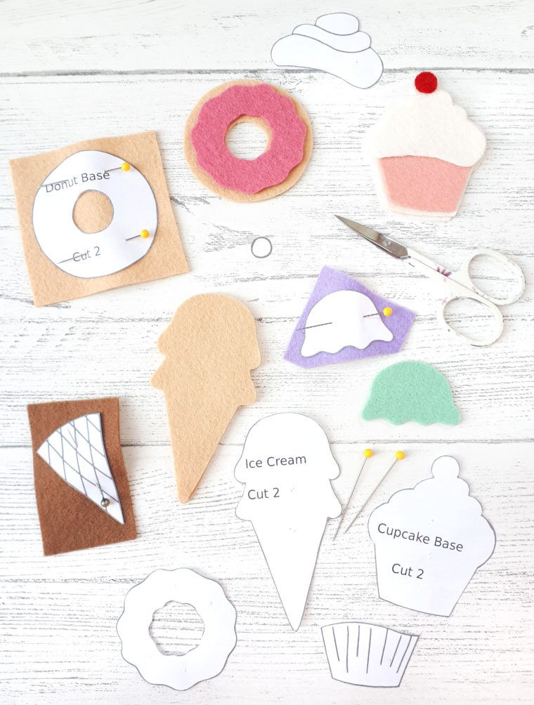 How to cut out elements for felt sweet treats. DIY felt ornaments with free patterns.