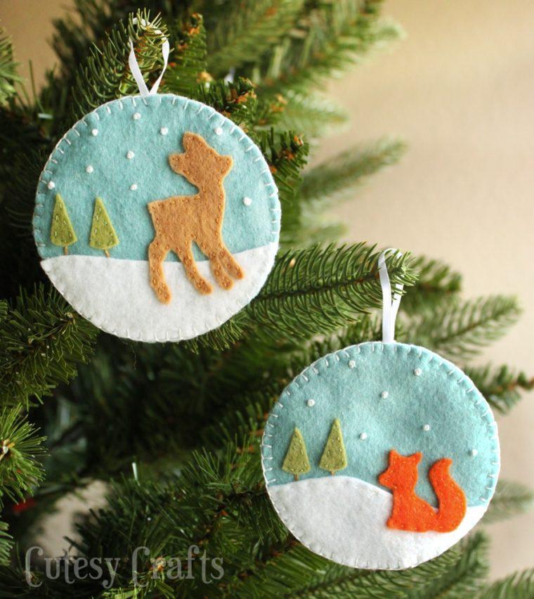 21 Free felt ornament patterns. Deer and fox felt ornament DIYs