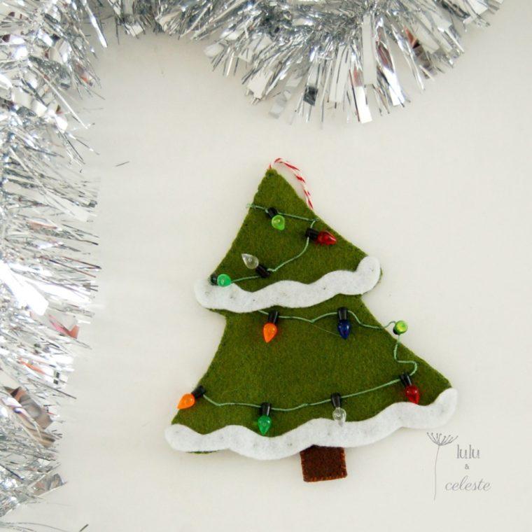 How to make a felt Christmas tree ornament with tiny lights