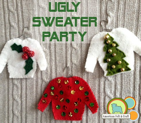 Ugly sweater ornaments, no-sew DIY