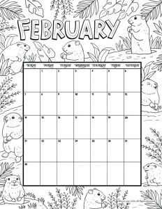 Fun colouring page calendar printable free