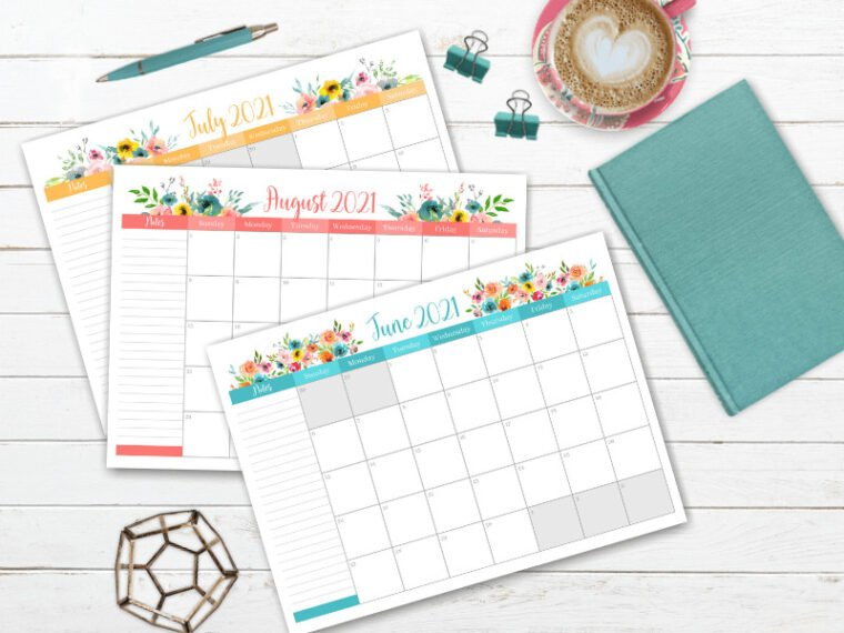 Beautiful floral 2021 printable calendar