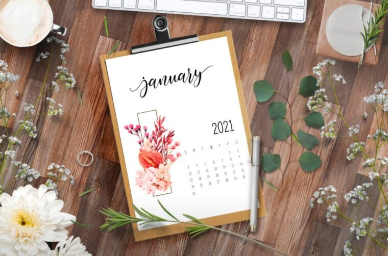 Pretty printable calendar free for 2021
