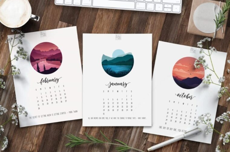 pretty scenic printable 2021 calendar pages