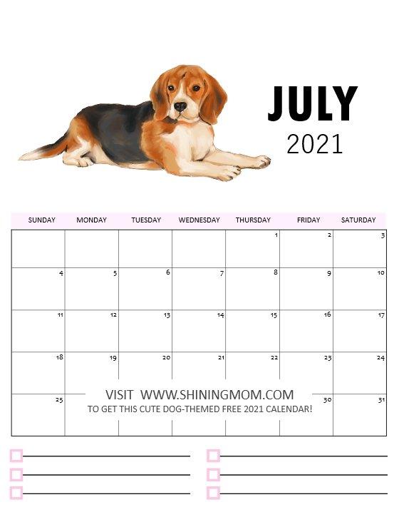 Free Dog Calendar Printables