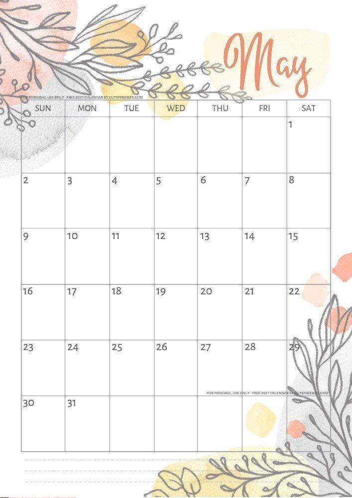 Botanical free printable calendar 2021