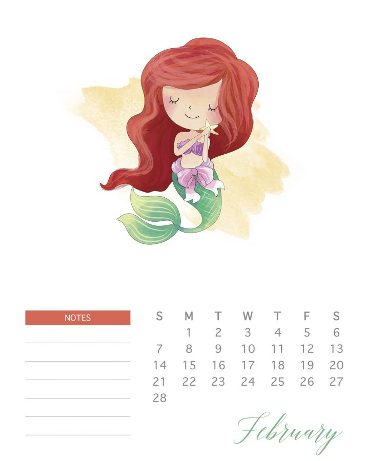 Princess calendar to print at home for free