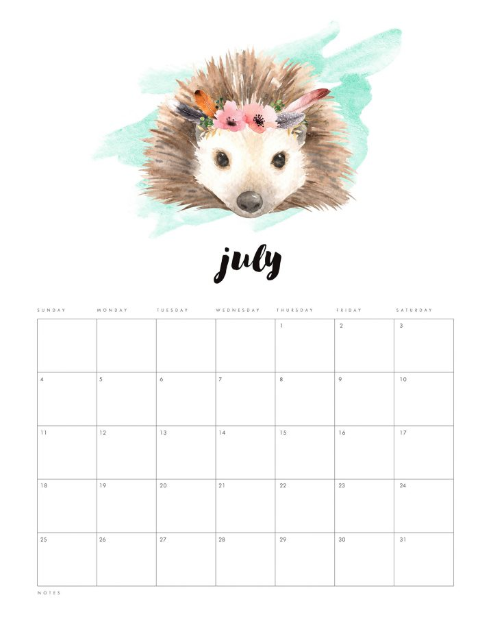 Cute watercolour animals calendar. Hedgehog, fox, bird woodland animal free printable calendar 2021