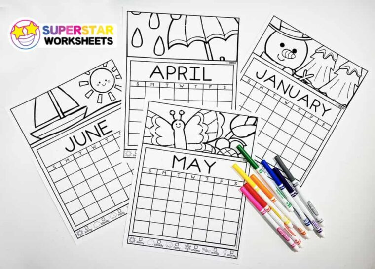 Weather journal colouring calendar for kids