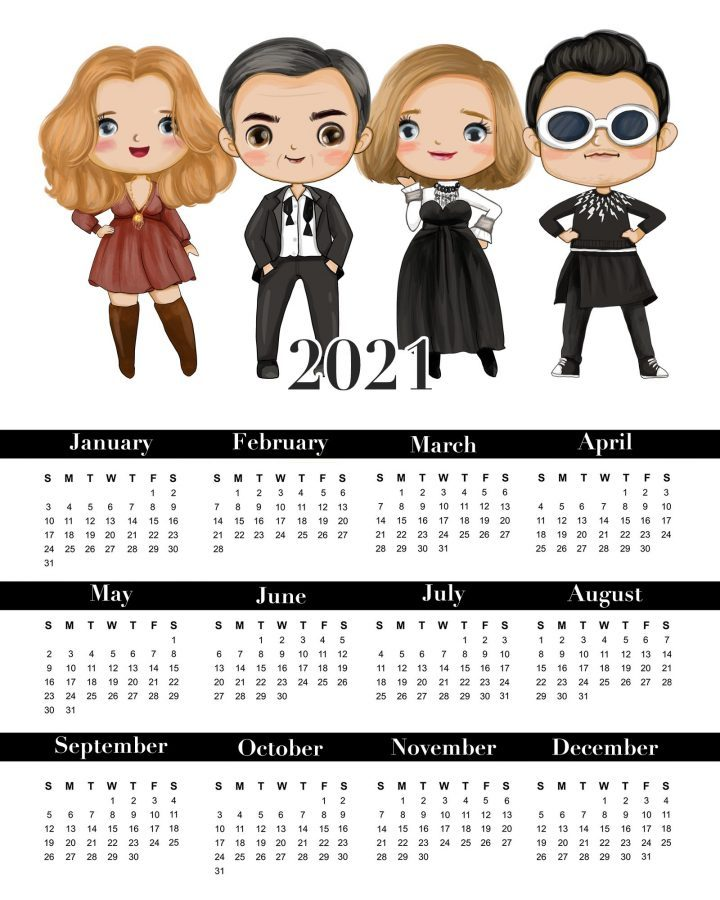One page printable 2021 calendar of Schitt's Creek
