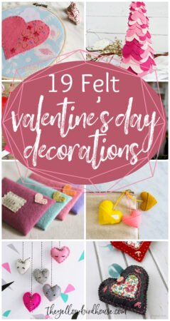 19 DIY Felt Valentine's Day Decorations. Felt is so fun and easy to craft with. Make one of these DIY decoration ideas to adorn your mantle, table top or wall. DIY Valentine's crafts, toys and gift ideas to make with felt.