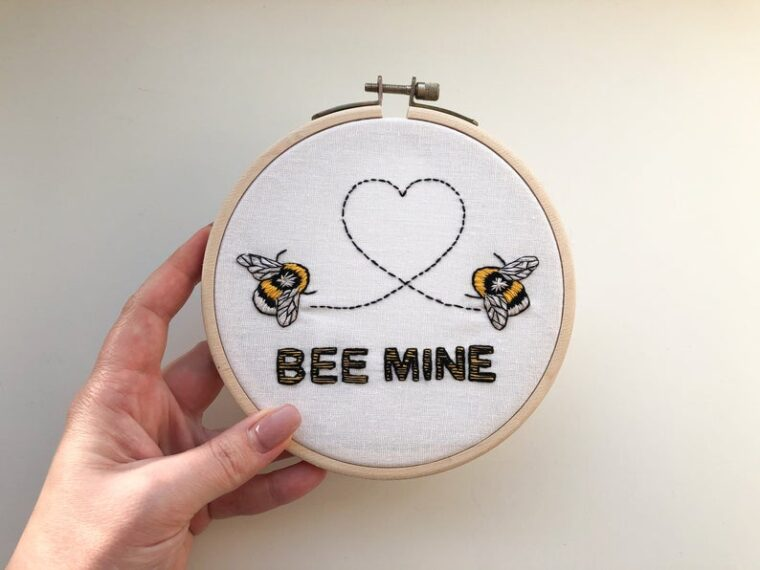 Bee Mine Valentine's Pun embroidery pattern