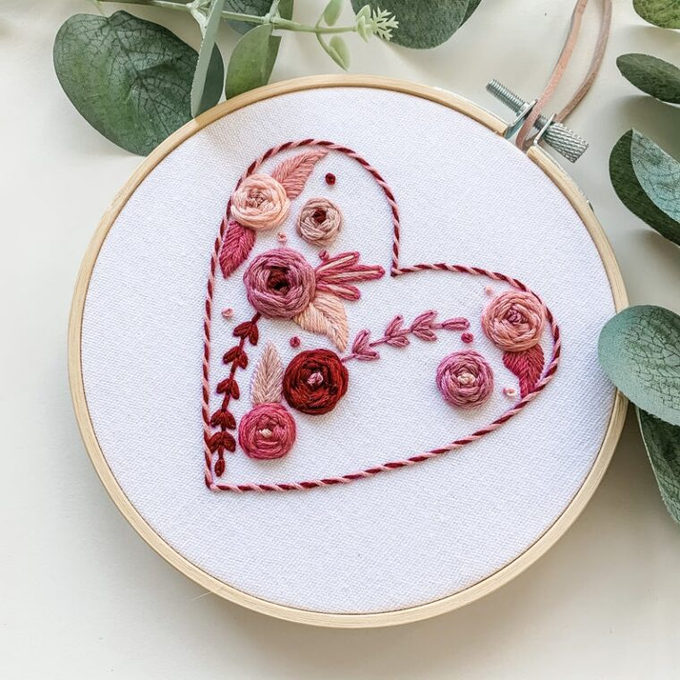Blooming heart floral hand embroidery pattern for a DIY Valentine's Day