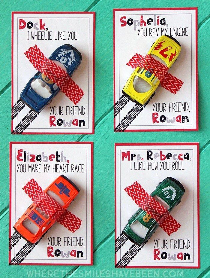 Race car Valentine idea for kids. Free printable Valentine card. Non food Valentine's Day ideas