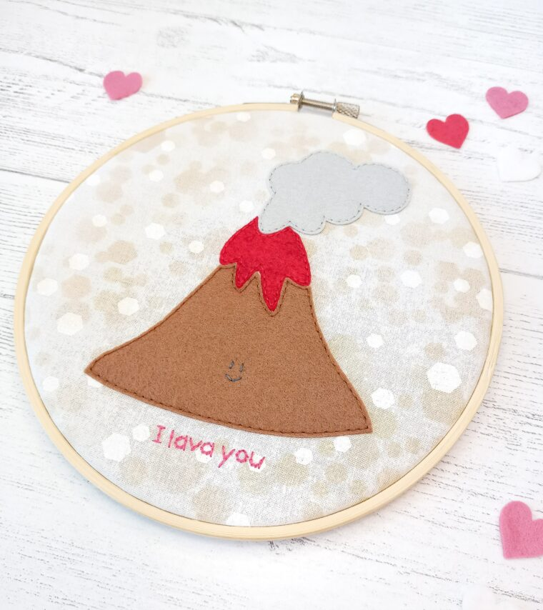 The cutest little volcano hoop art for a kid's room or Valentines Day decor! Easy sewing tutorial with free printable pattern.