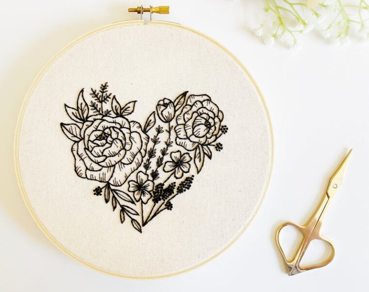 Moody floral heart hand embroidery pattern. Valentine's themed diy decor