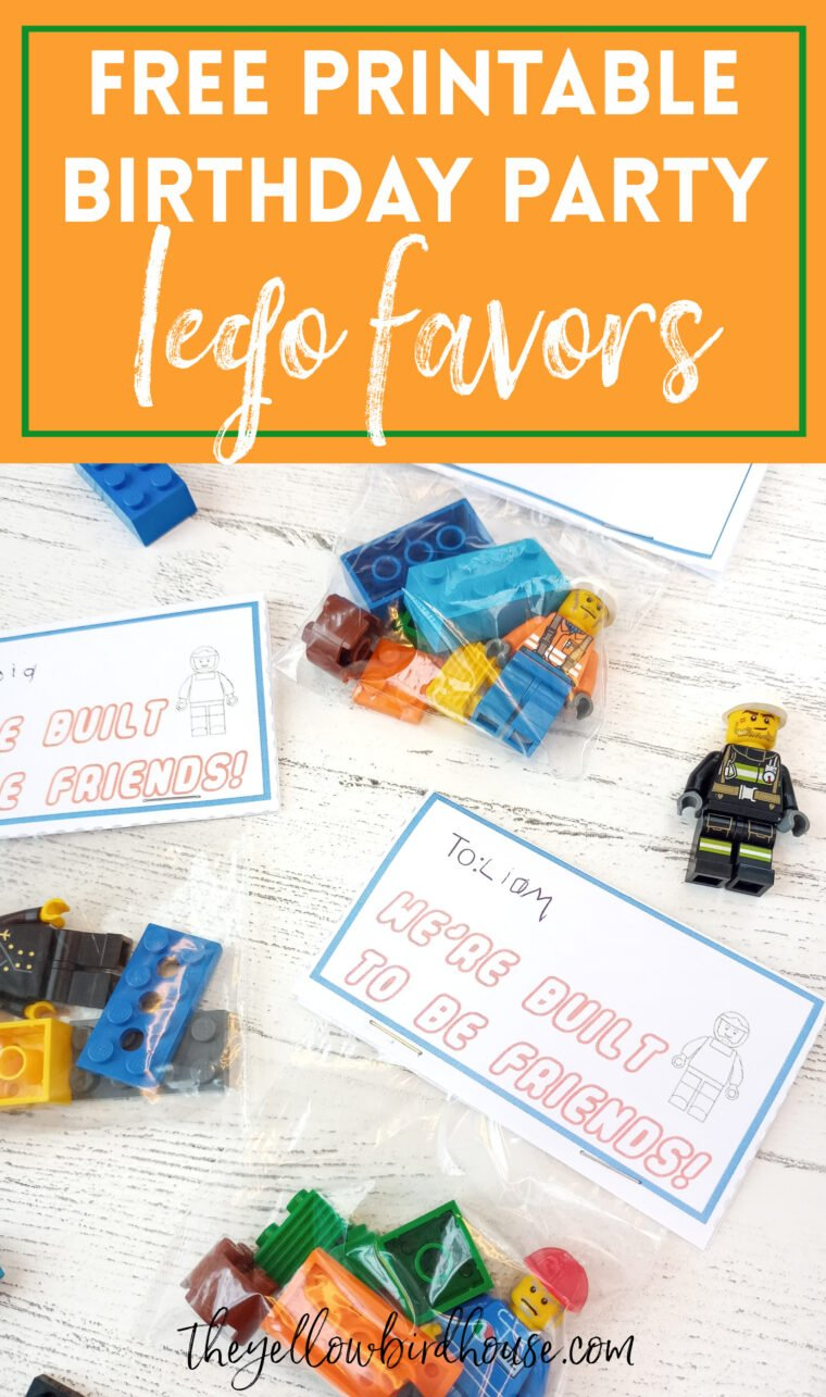 Lego birthday party free printable. Lego party favour ideas for kid's birthdays. Easy party favors for kids.