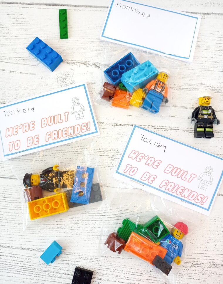DIY Lego Valentine with free printable. So easy to assemble and fun for kids to give to their friends!