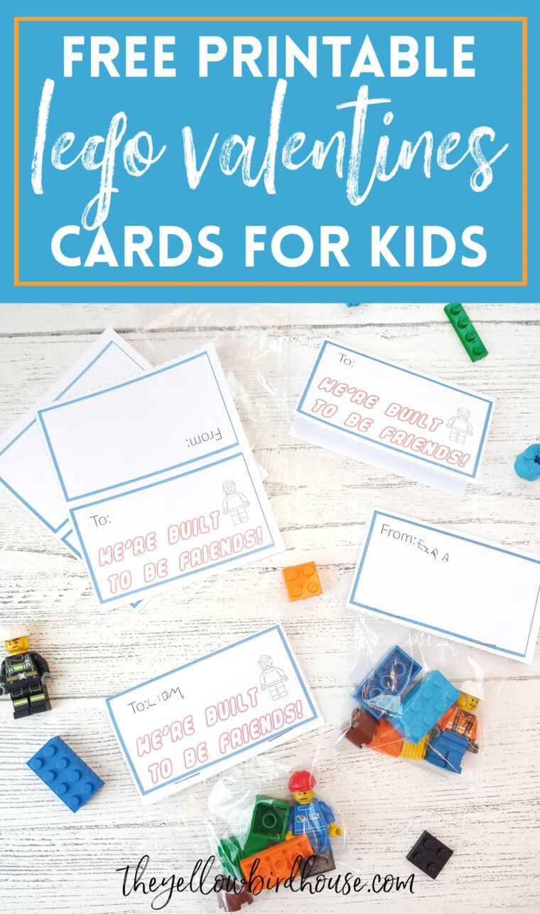 Free Printable Lego Valentines Cards for Kids to assemble and give to their friends at school. Non food Valentines ideas for the classroom. DIY easy Valentines ideas to assemble at the last minute!