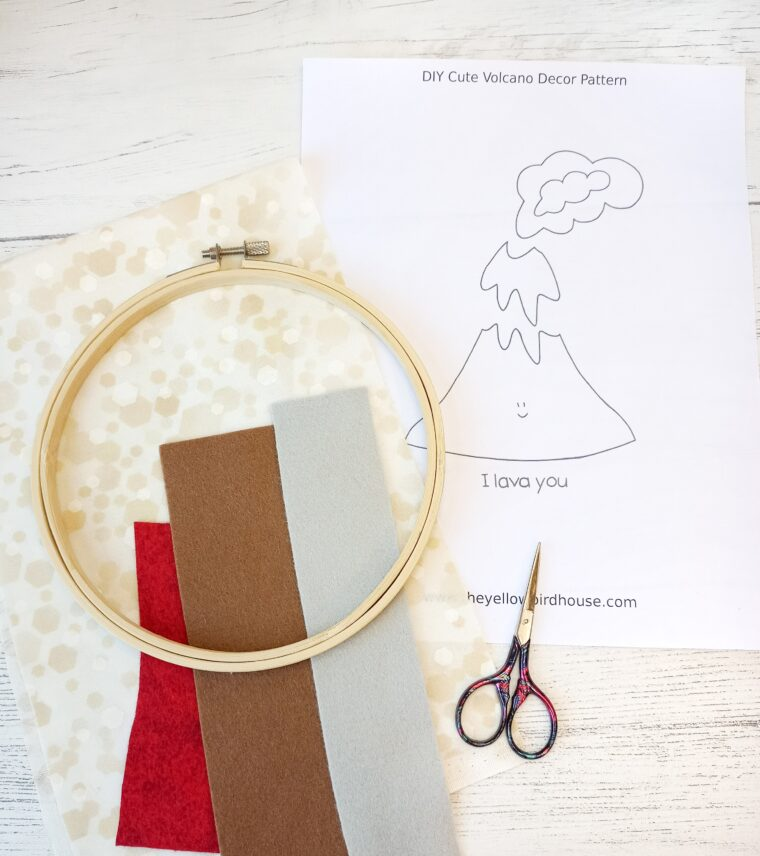 Gather up your materials for this adorable DIY Valentines Volcano hoop!