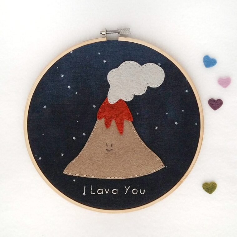 The sweetest little happy volcano decor. I lava you easy DIY sewing tutorial and free pattern for Valentines Day!