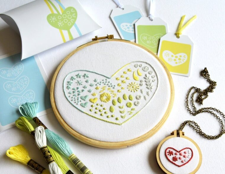 Cute heart sampler embroidery pattern for Valentine's Day