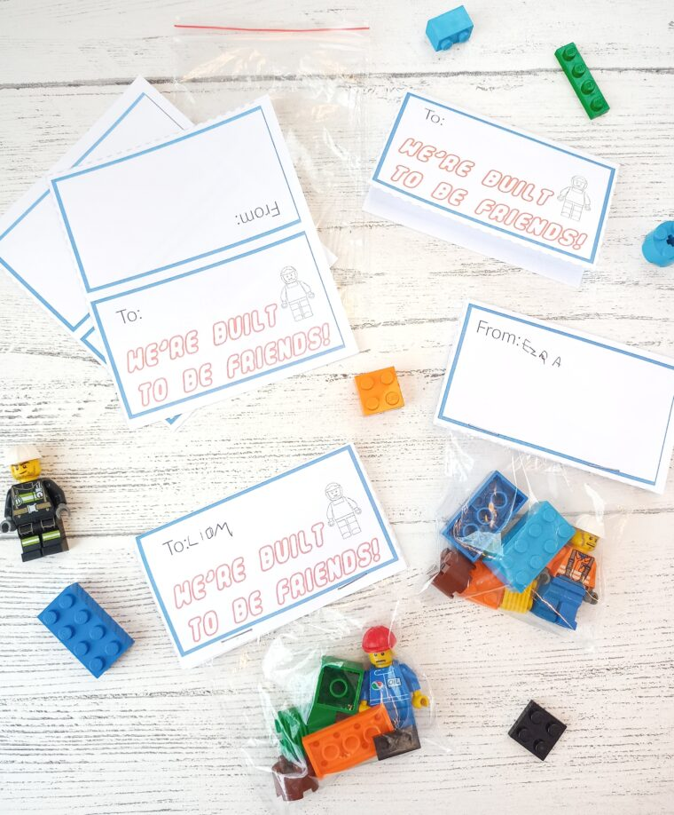 Simple DIY Lego Valentine card idea for kids with free printable. Fun and easy Valentine for kids to make and give. Non candy Valentines ideas.