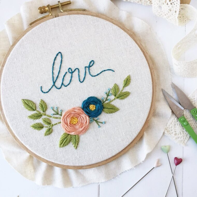 Love blooms embroidery pattern. Floral Valentine's Day themed DIY embroidery pattern