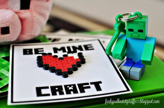 Punny Minecraft Valentine's Day card ideas for kids.