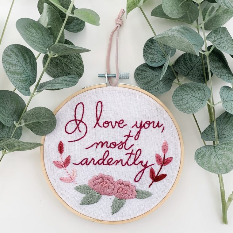 Pride and Prejudice inspired hand embroidery pattern for Valentine's DAy