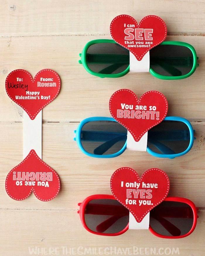 Fun sunglasses Valentine DIY idea for kids to give their friends. Non food Valentine's ideas