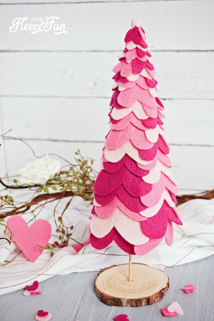 Felt heart tree table decoration. Beautiful hearts layered onto a tree form to make a Valentine decoration