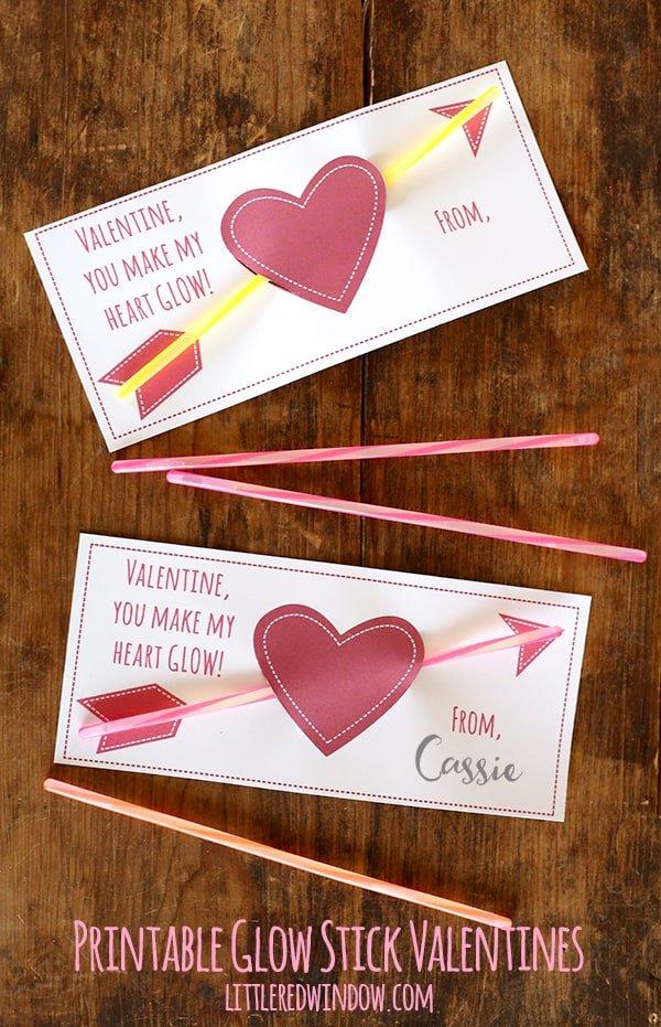 Free printable Valentine's card for school kids. Glow Stick Valentines for kids