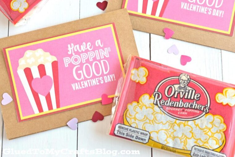 A no-candy Valentine's Day idea for kids to give their friends. Popcorn printable Valentines Cards