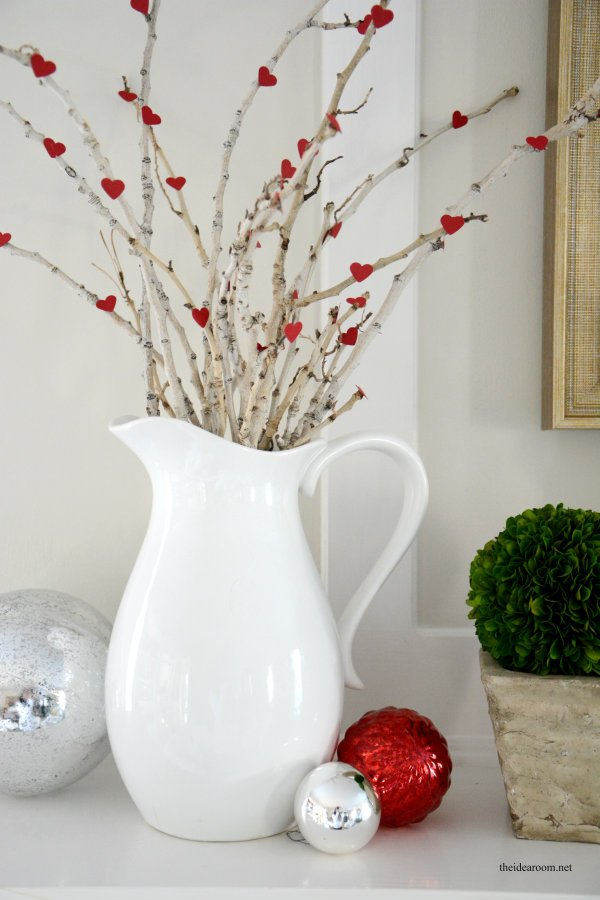 Little heart branches. DIY mantle decor for Valentine's Day