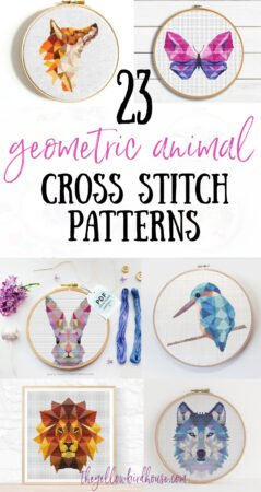23 Geometric Animal Cross Stitch Patterns. Beautiful geometric animal embroidery patterns for beginners. Woodland animal embroidery. Geometric fox cross stitch. Geometric unicorn pattern. Geometric cross stitch designs for kids room decor.