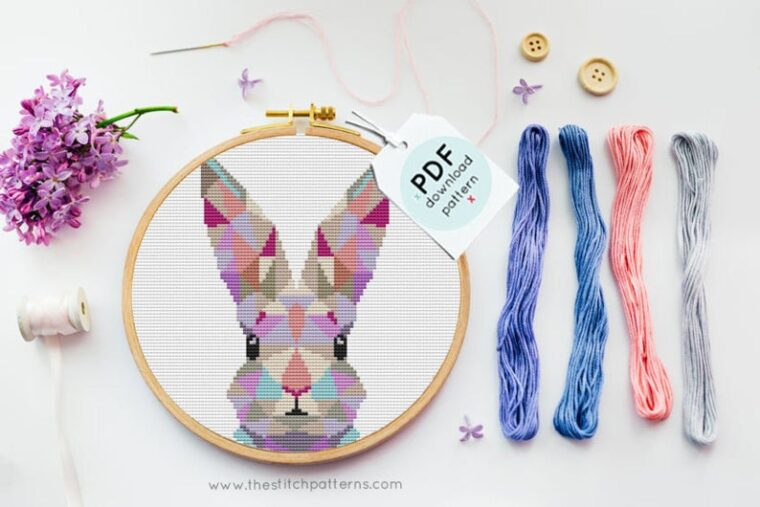 Cute bunny cross stitch pattern perfect for springtime or Easter decor. 23 Geometric animal patterns