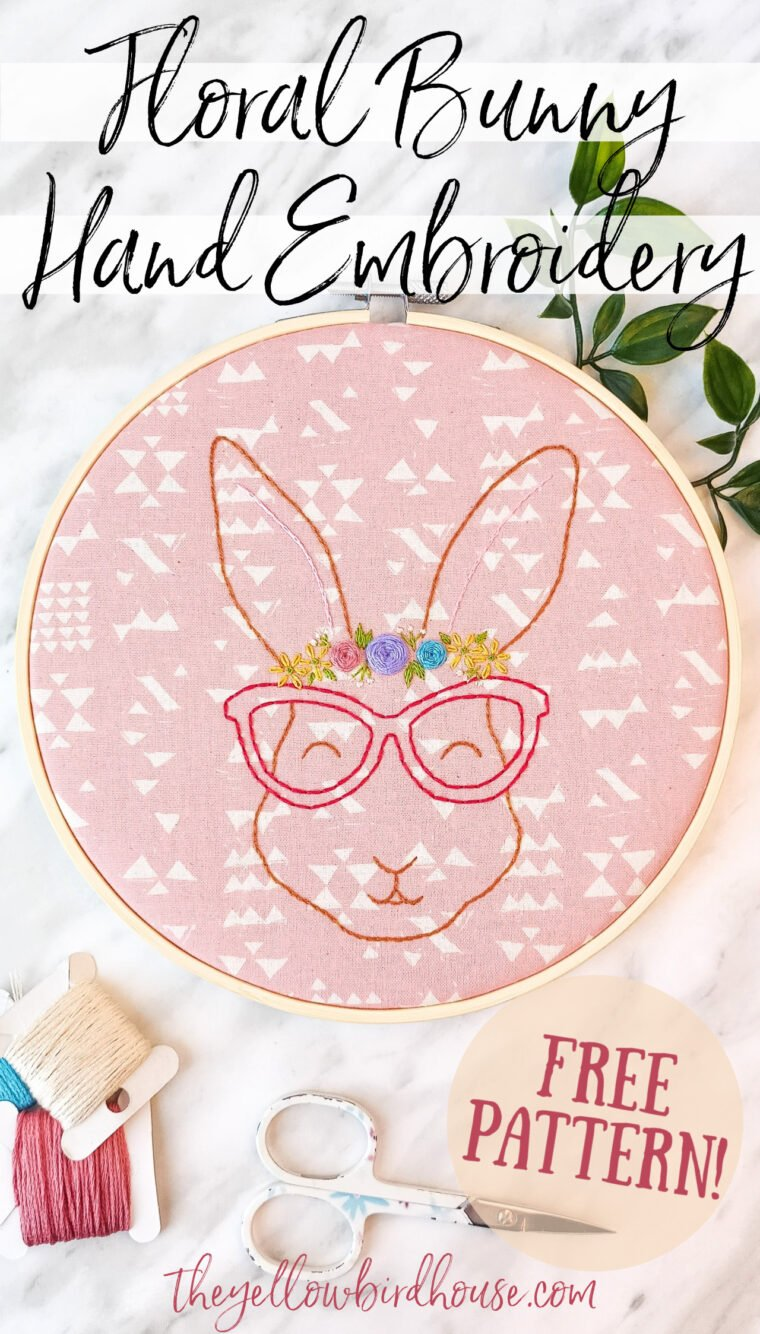 Adorable floral bunny hand embroidery free pattern download. Create this cute bespectacled rabbit with a lovely floral crown using this free embroidery pattern. Free woodland animal embroidery pattern. Free embroidery pattern for beginners. Easter-themed DIY decor. How to embroider florals on a little bunny design.