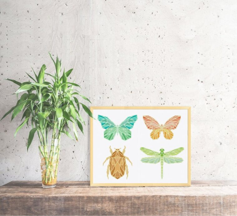 Set of lovely geometric insect cross stitch patterns. Dragonfly embroidery pattern. Beetle and Butterfly cross stitch patterns.