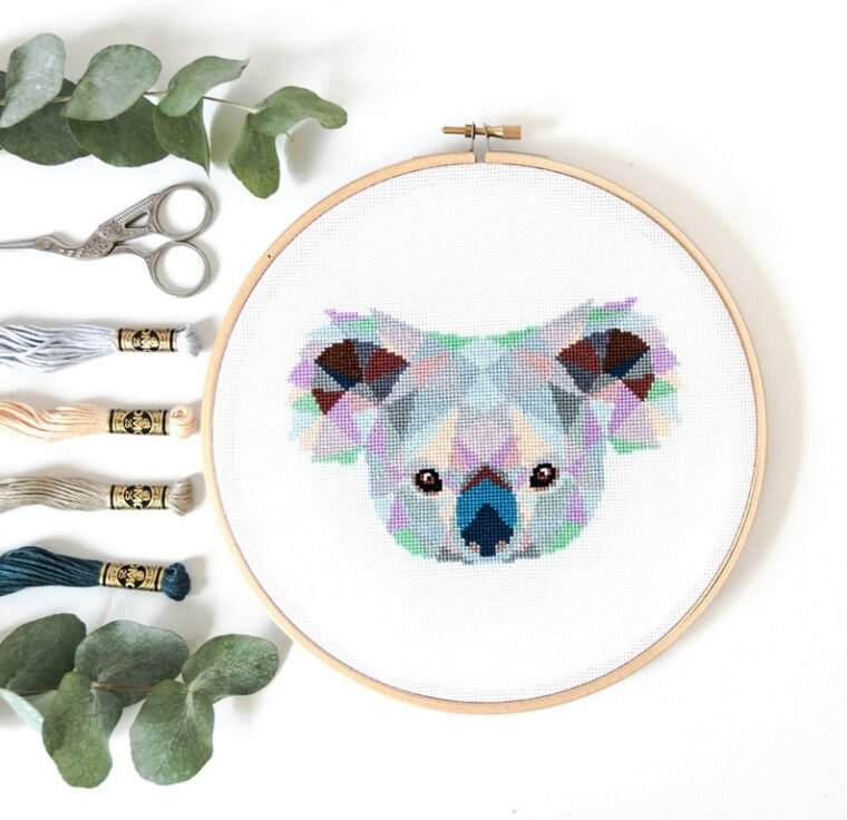 Cute koala bear cross stitch. 23 geometric animal embroidery patterns