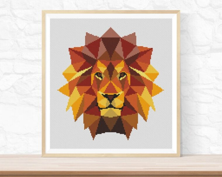 Majestic geometric lion cross stitch pattern. Safari animal embroidery patterns