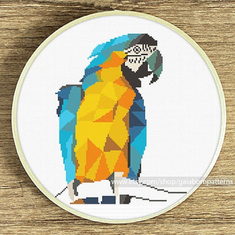 Bright and colourful Macaw bird geometric embroidery pattern