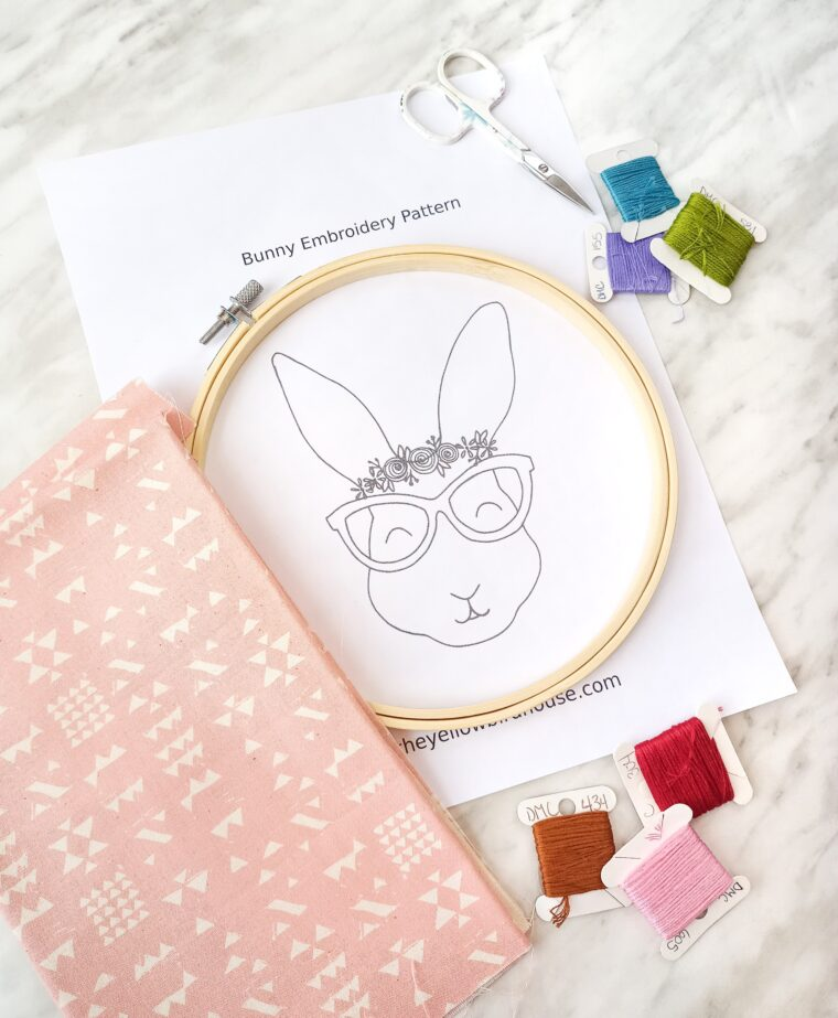 Materials you'll need to make an adorable floral bunny embroidery