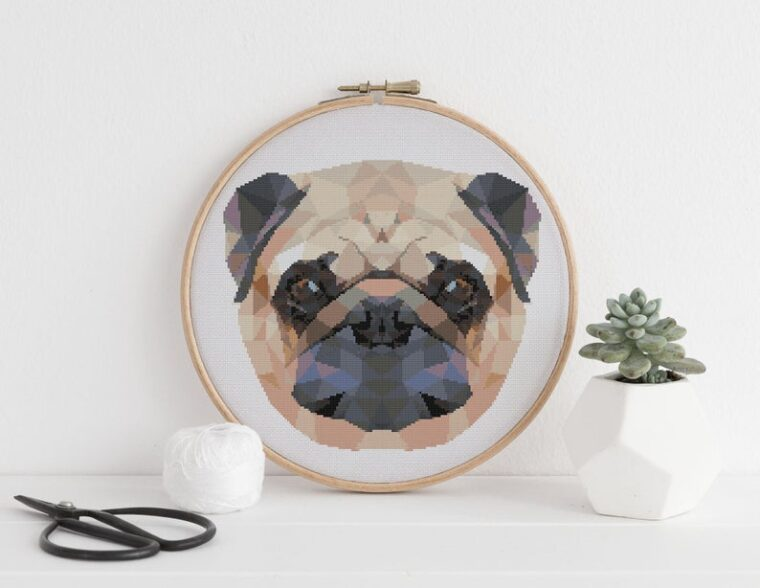 Cute pug pup cross stitch pattern download. 23 adorable geometric animal patterns.