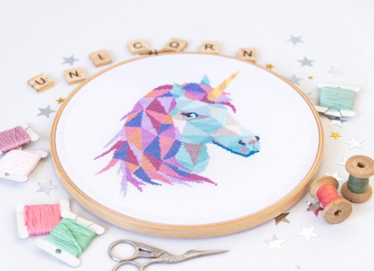 Beautiful magical unicorn embroidery pattern for girl's room decor. 23 Geometric animal designs, cross stitch patterns.