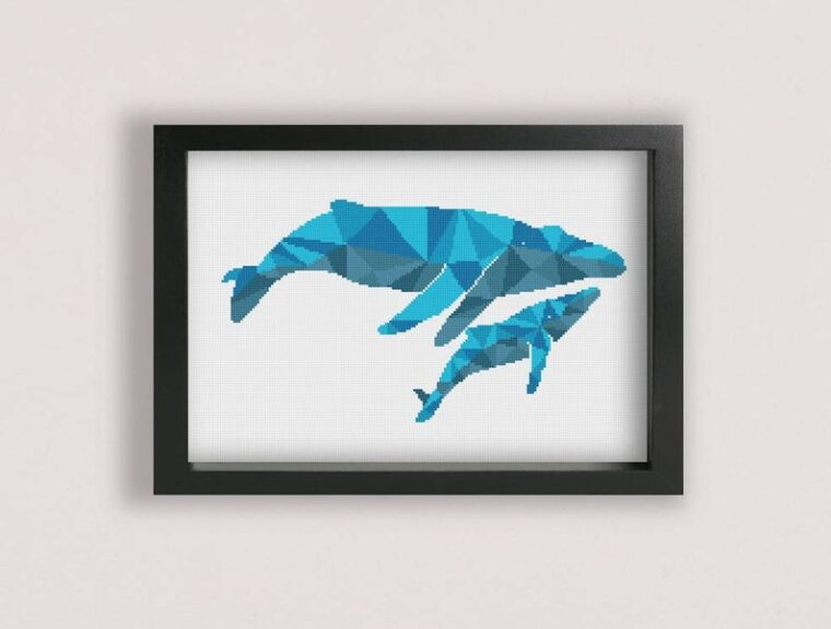Whale cross stitch PDF pattern. 23 Incredible geometric animal cross stitch patterns