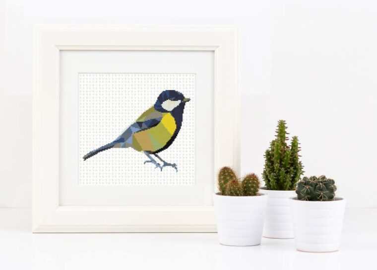 Adorable geometric bird cross stitch patterns. Cute geometric animals